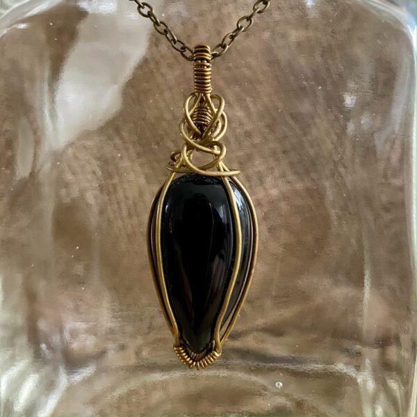 handgemaakte hanger met zwarte agaat - black drop