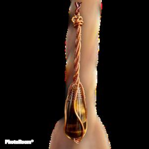 sierlijk tijgeroog - unieke handgemaakte pegelhanger met tijgeroog
