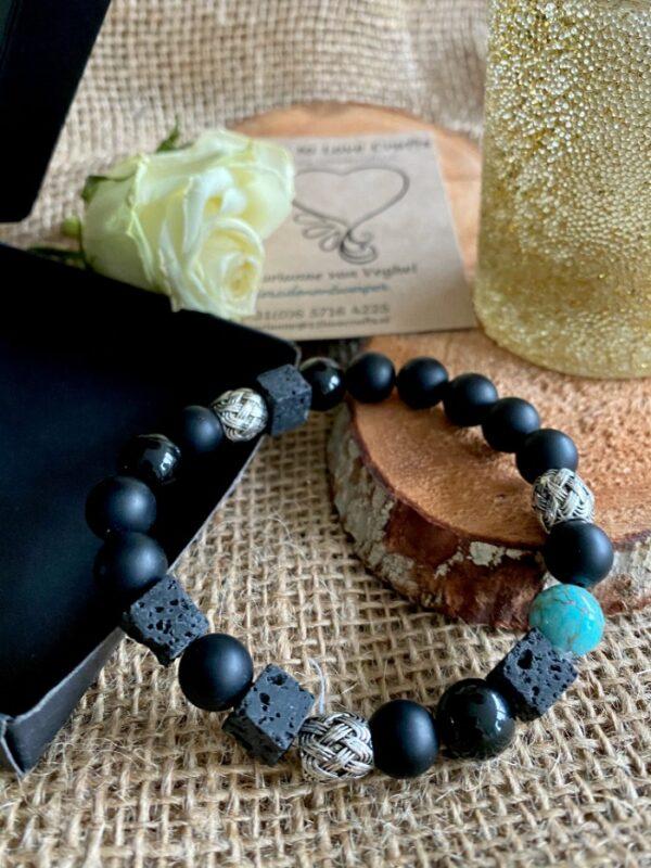 Bijzondere uniseks armband met zwarte agaat, turkoois en obsidiaan