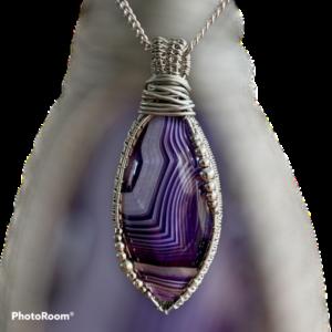Handgemaakte hanger met paarse streep-agaat