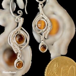 Fantastische handgemaakte oorbellen met tijgeroog